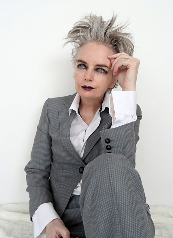 Menswear fashion for women and a dark lip look | 40plusstyle.com