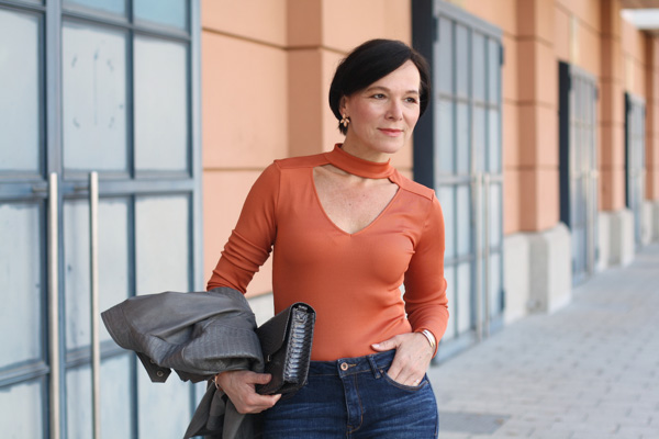 Styling a chic sweater with denim   40plusstyle.com