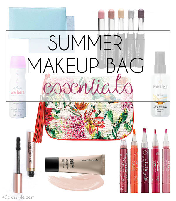 summer makeup bag essentials for hot weather makeup | 40plusstyle.com