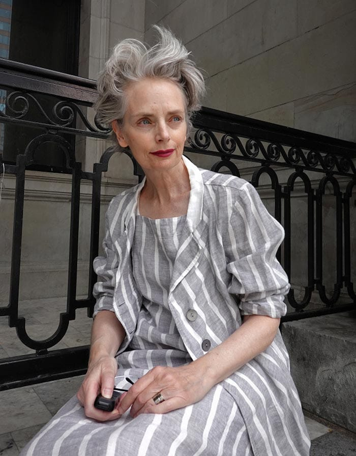 Melanie in gray coordinates   40plusstyle.com