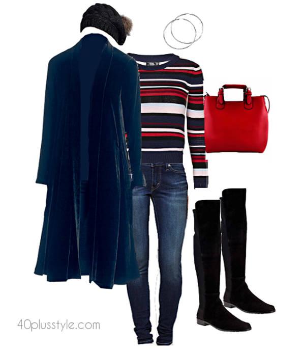 long velvet cardigan | 40plusstyle.com