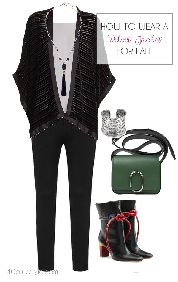 how to wear a fall velvet jacket | 40plusstyle.com