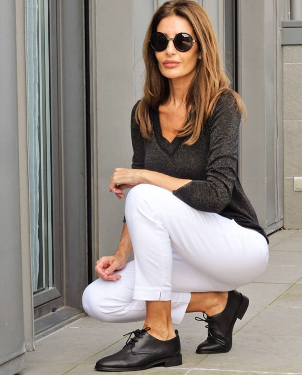 white pants with brogues   40plusstyle.com