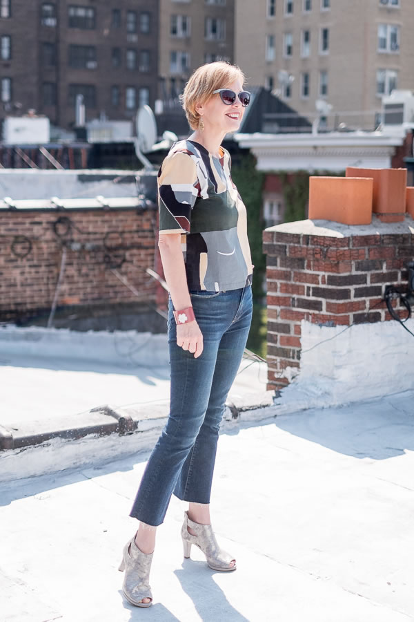 Crop flare jeans with a colorful top