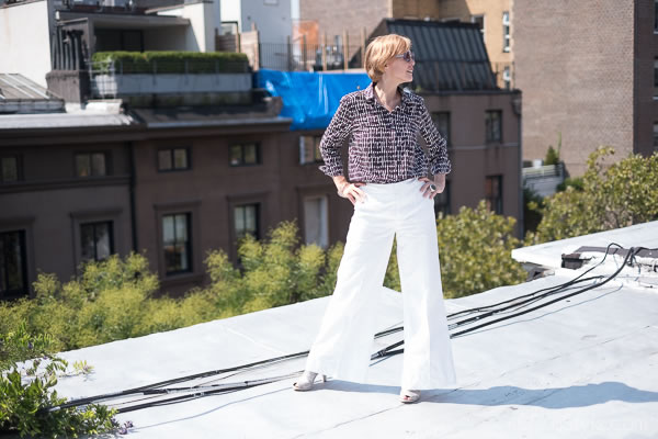 Wide legged pants with a print top from Cos | 40plusstyle.com