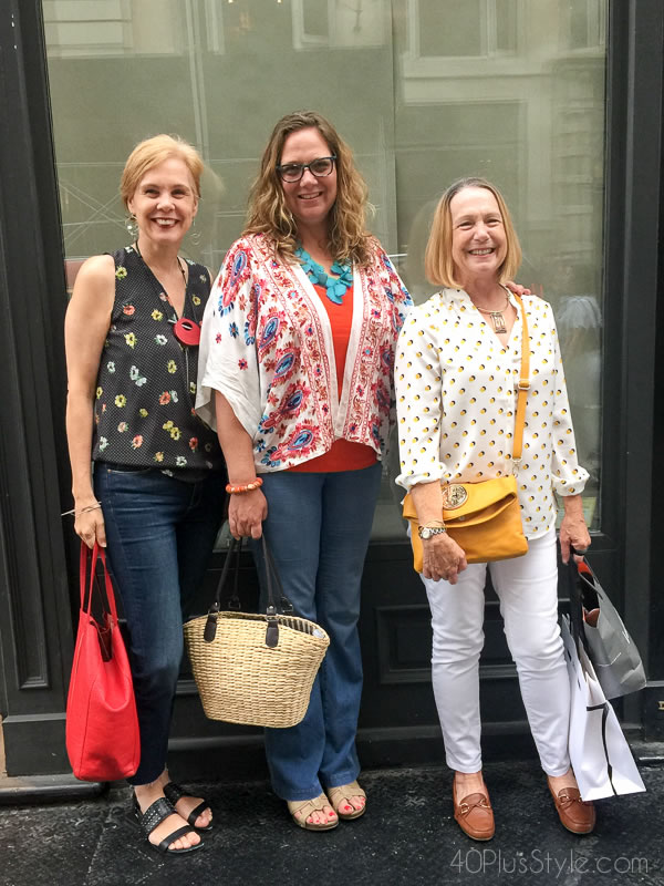 How girlfriends dress alike - Embracing printed tops and statement necklaces | 40plusstyle.com