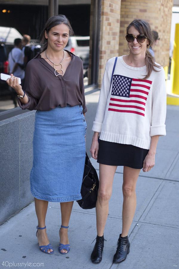Dressing up a denim skirt | 40plusstyle.com