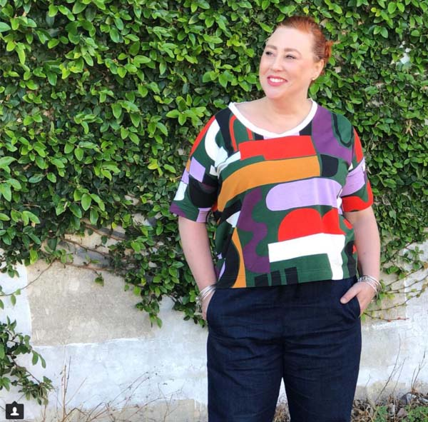 80s inspired top with bold colors | 40plusstyle.com