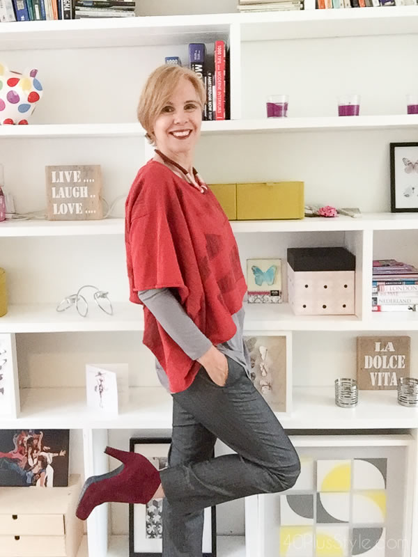 red and gray layers | 40plusstyle.com