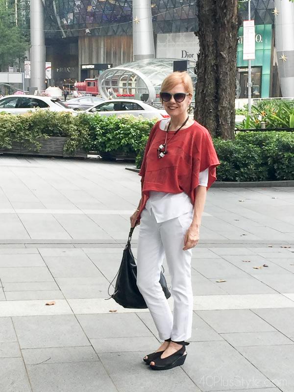 Wearing white capris