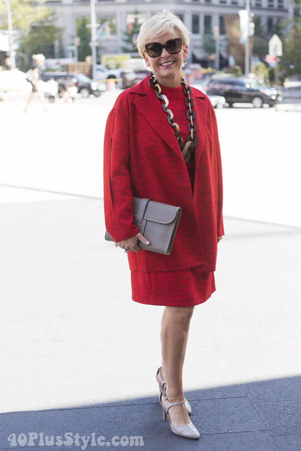 Red holiday outfits for women over 40 | 40plusstyle.com