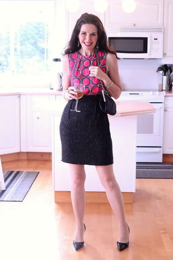 Party outfits for women over 40: stylish and modern printed top with a shimmery skirt | 40plusstyle.com