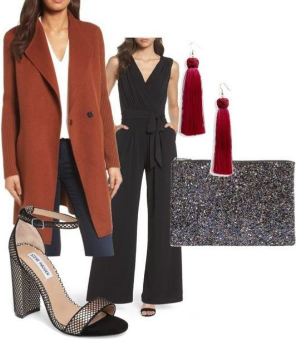jumpsuits have been big for a few seasons and the trend shows no sign of letting up wear a dressy one and accessorize it with holiday ready red and