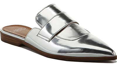 stylish silver mules silver shoes | 40plusstyle.com