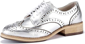 U-lite Women's Perforated Lace-up Wingtip Leather Flat Oxfords Vintage Oxford | 40plusstyle.com