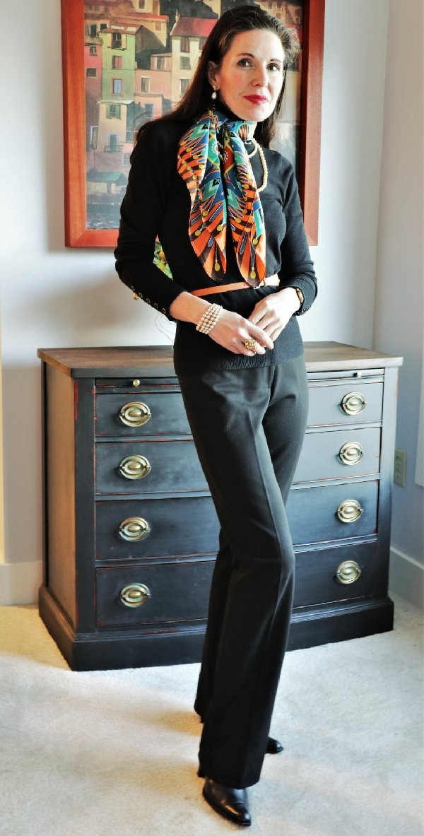 An elongating scarf accessory is always a chic look!   40plusstyle.com