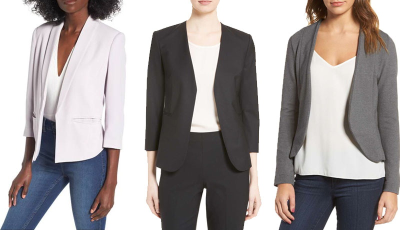 Open front and draped blazer choices for women | 40plusstyle.com