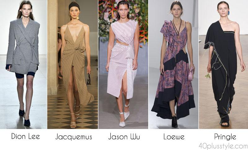 2018 fashion: Draped outfits by Dion Lee, Jacquemus, Jason Wu, Loewe, and Pringle. | 40plusstyle.com