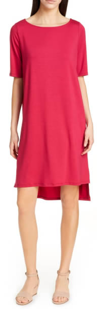 red dress by Eileen Fisher | 40plusstyle.com