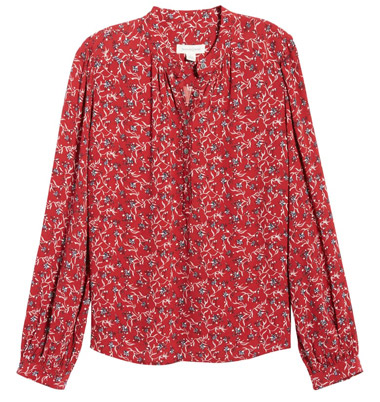 Printed red blouse | 40plusstyle.com