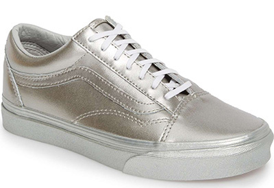 silver sneakers for women over 40 | 40plusstyle.com