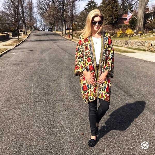 floral kimono jacket | 40plusstyle.com