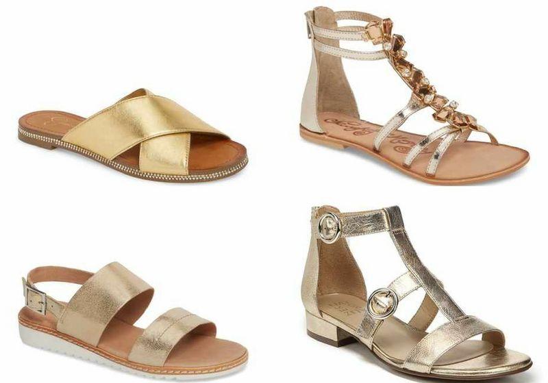 gold women's sandals | 40plusstyle.com