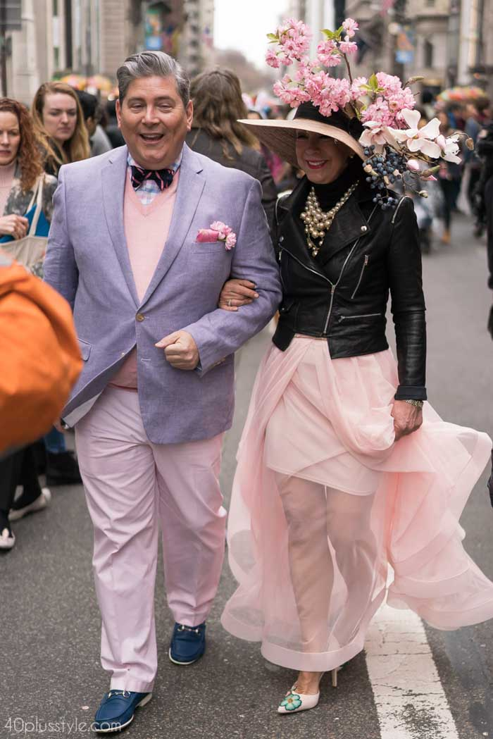 A lovely lavender and pink couple's outfit - Easter Parade outfits | 40plusstyle.com