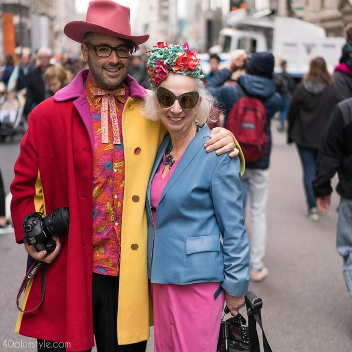 Color blocking taken to the next level with @AriSethCohenand Teresa! - Easter Parade outfits | 40plusstyle.com