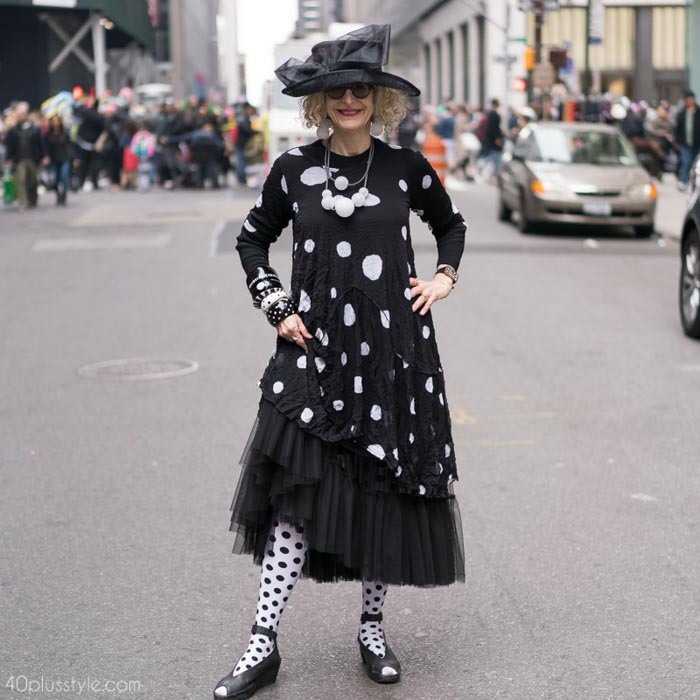 A lovely tulle polka dotted dress - Easter Parade outfits | 40plusstyle.com