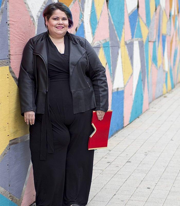 black jumpsuit | 40plusstyle.com