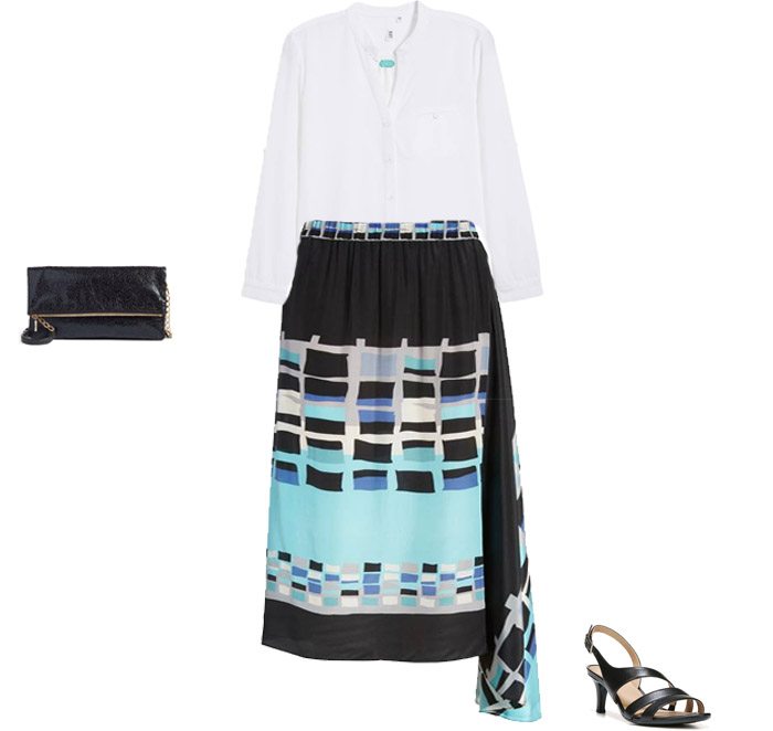 Silk modern print skirt - The best outfits to wear for Mother's Day brunch   40plusstyle.com