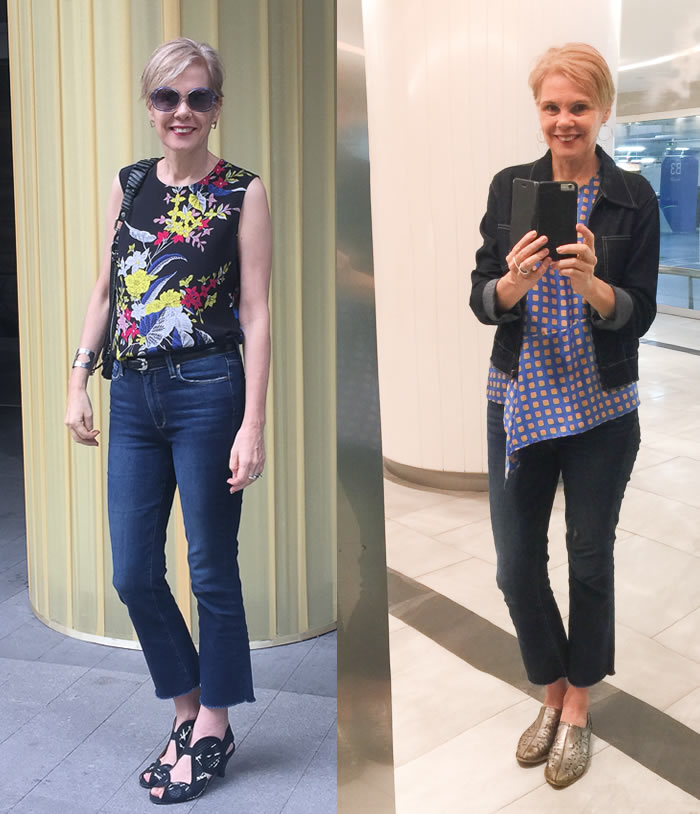 DVF silk tops worn with crop flare jeans | 40plusstyle.com