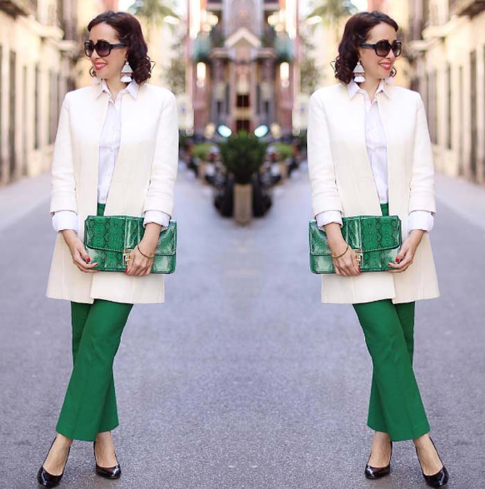 White blazer outfit - #40plusstyle inspiration: green | 40plusstyle.com