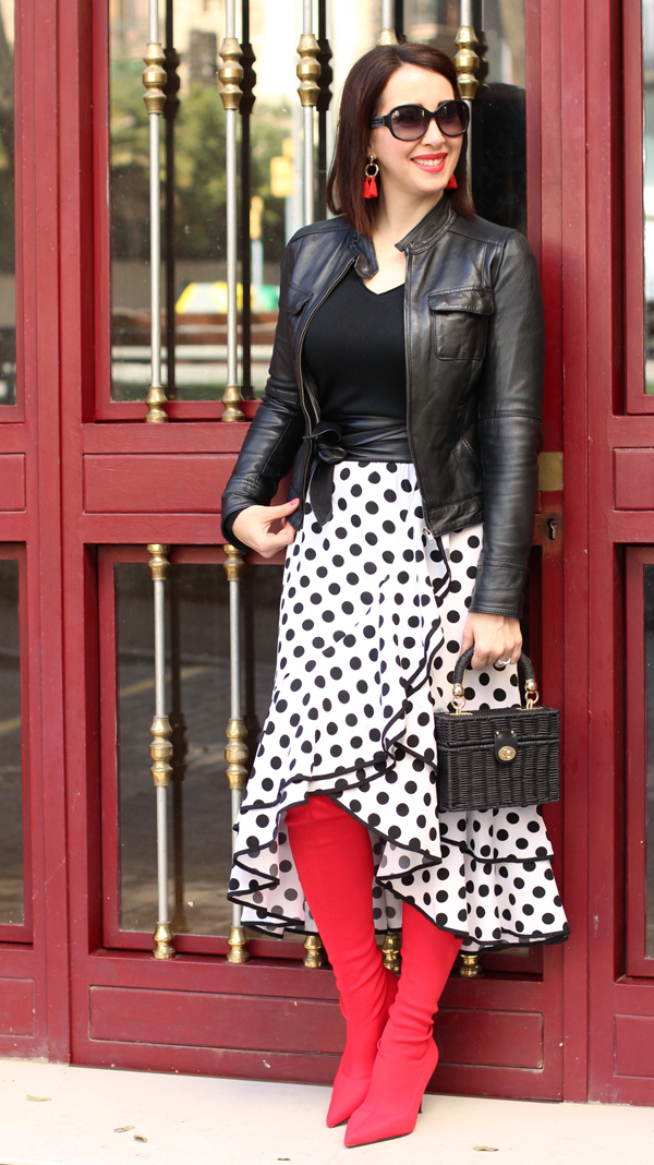 Bold red boots and polka dots | 40plusstyle.com
