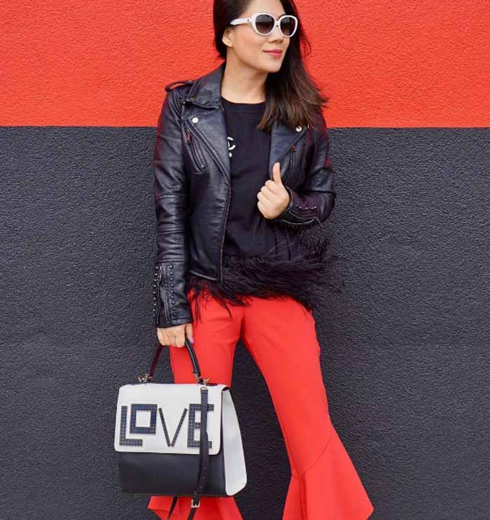 Leather jacket and red pants | 40plusstyle.com