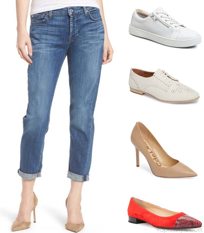 What shoes to wear with different denim pants | 40plusstyle.com