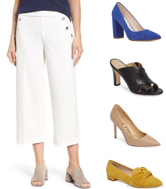 What shoes to wear with wide leg trousers | 40plusstyle.com