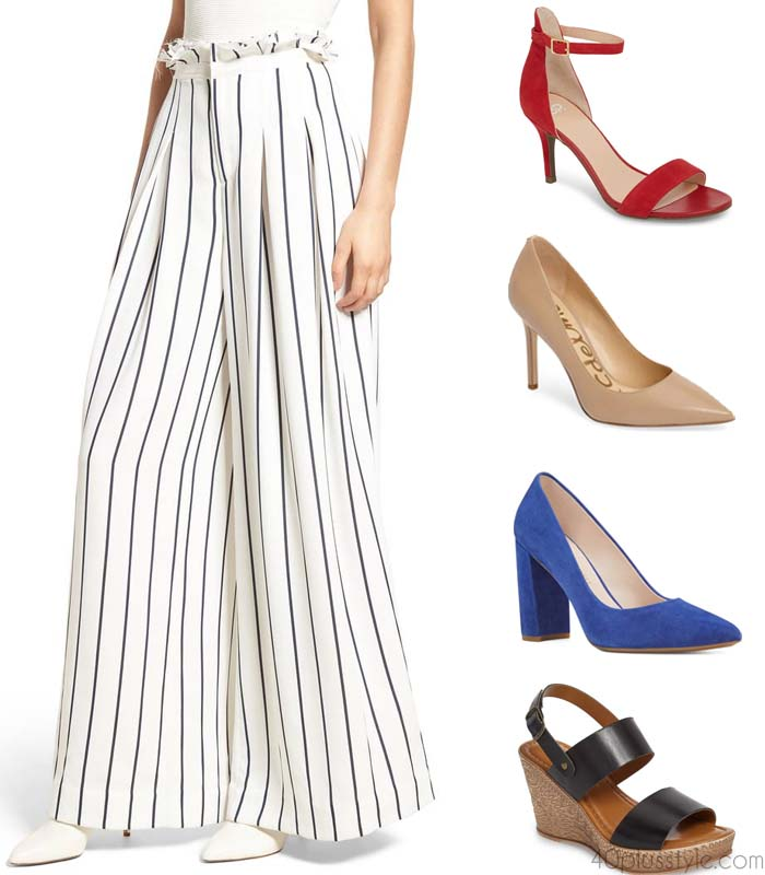 Wide leg pants - What shoes to wear with different styles of pants | 40plusstyle.com