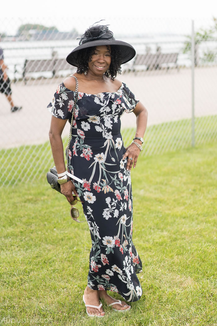 Maxi dress at the Veuve Clicquot polo classic 2018 | 40plusstyle.com