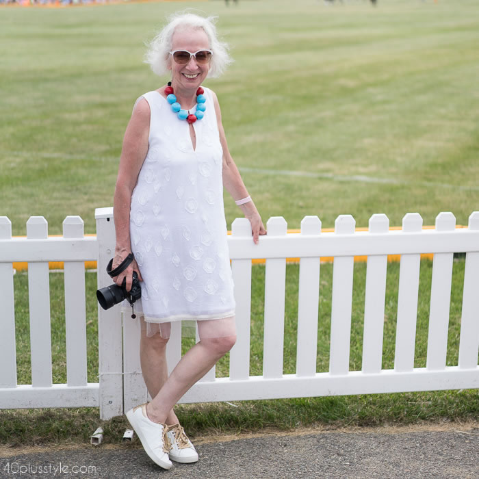 White dress at the veuveclicquotpolo classic 2018 | 40plusstyle.com