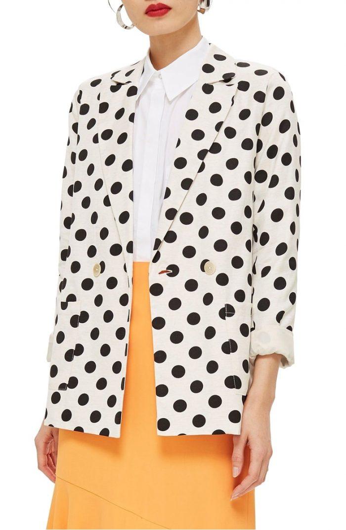 A stylish polka dot blazer | 40plusstyle.com