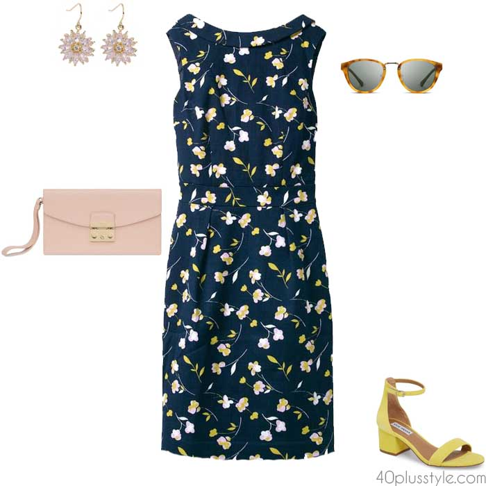 Floral frock dress for a party or a cook out | 40plusstyle.com