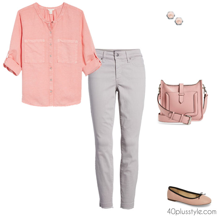 chic ideas on how to wear gray with pink | 40plusstyle.com