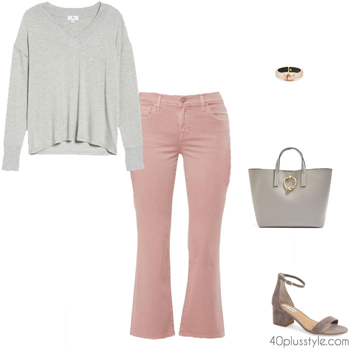 how to wear gray with pink | 40plusstyle.com