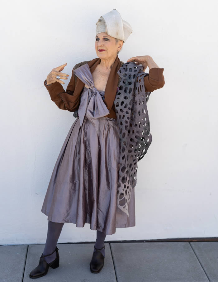 Debra Rapoport wearing silver gray with brown | 40plusstyle.com