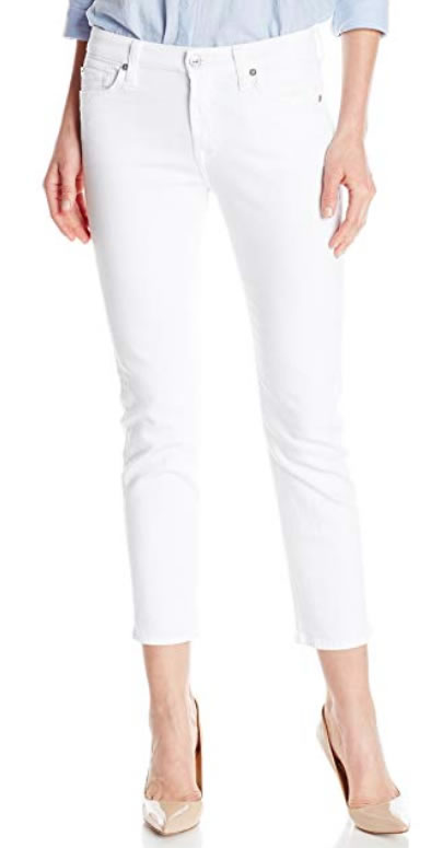 Cropped white skinny jeans | 40plusstyle.com