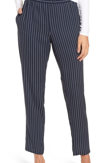 Striped Eileen Fisher pants | 40plusstyle.com