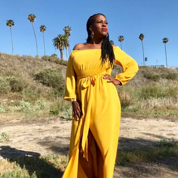 Yellow maxi dress - A style interview with Julie Dionne Harbour   40plusstyle.com
