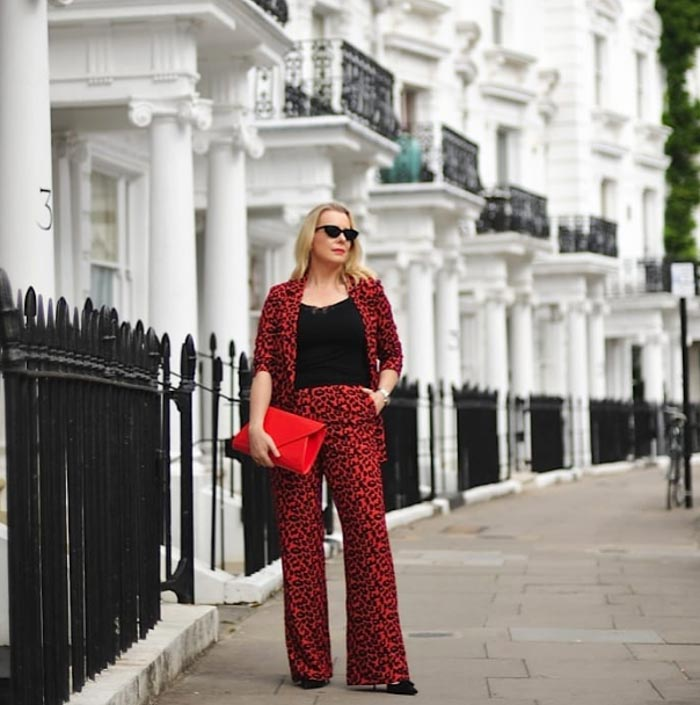 Bold red animal print outfit idea | 40plusstyle.com